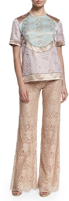 Pin for Later: Take Styling Inspiration From Gigi Hadid in the Hottest High-Waisted Trousers Christopher Kane High-Waist Flare-Leg Lace Pants Christopher Kane High-Waist Flare-Leg Lace Pants (£423, originally £848)