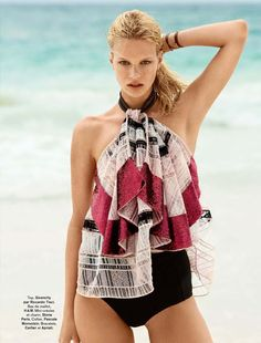 """Nadine Leopold in """"Voilà L'été"""" by Hilary Walsh for Glamour France June 2014"""