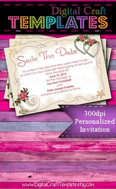 Personalized Printable Invitations   Beach Wedding   Save the Date   Wedding    #19