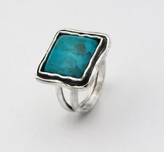 Green Turqouise Sterling Silver 925 Ring door SilverLinningsJewels