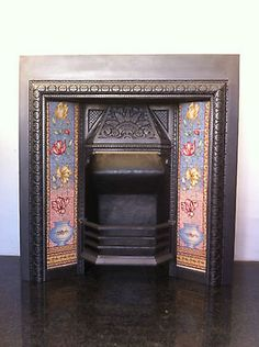 Original Restored Antique Cast Iron Victorian Tiled Insert Fireplace (EM070) in Antiques, Architectural Antiques, Fireplaces | eBay