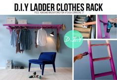 Lots of ideas for ladders, including clothes racks, hanging storage, pot racks, and shelves.