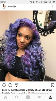 17 Hottest Pink Weave Hairstyles Purple 70 Tempting And Attractive Purple Hair Looks Blonde Weave Hairstyles, Frontal Hairstyles, Black Girls Hairstyles, Pretty Hairstyles, Wig Hairstyles, Love Hair, Gorgeous Hair, Curly Hair Styles, Natural Hair Styles