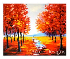 Red Fall Painting Art Red Autumn Painting Autumn by ArtcoDesigns, $178.00