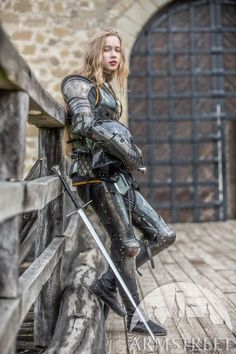 """Female armor kit made of blackened spring steel """"Dark Star"""" for sale. Available in: stainless, blackened spring steel, mirror polishing, satin polishing :: by medieval store ArmStreet Armadura Medieval, Female Armor, Female Knight, Lady Knight, Female Soldier, Medieval Armor, Medieval Fantasy, Medieval Girl, Medieval Knight"""