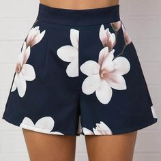 FREE SHIPPING!!! Material: PolyesterStyle: CasualPattern Type: PrintDecoration: NoneWaist Type: HighFit Type: LooseClosure Type: Zipper FlyPant Style: FlareMaterial Composition: Polyester fiberModel Number: 109562Item Type: ShortsGender: Women