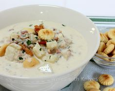 Clam Chowder with local fresh Pacific Northwest razor clams. Clam Chowder Recipes, Clam Recipes, Chili Recipes, Seafood Recipes, Soup Recipes, Cooking Recipes, Dishes Recipes, Soup And Salad, Bon Appetit