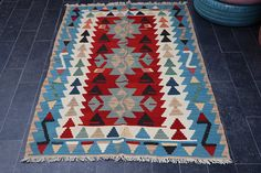 Aztec Kilim Rug Turkish Kilim Rug FREE SHIPPING 3.4 x 5.2 #etsy #etsyseller #interiordesign #interiors #homedecor #geometric #blue #red #silkroadrugs