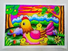 Ideas oil pastel art for kids kindergartens Oil Pastel Art, Oil Pastel Drawings, Crayon Drawings, Bird Drawings, Easy Drawings For Kids, Art For Kids, Art Drawings Beautiful, Diy Canvas Art, Art Oil