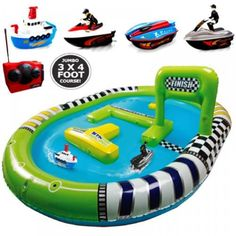 Kids-Inflatable-Pool-Twin-Radio-Remote-Control-Speed-Racing-Boat-Track-Play-Set