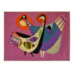Hooked Wool Tapestry by Bill Hinz