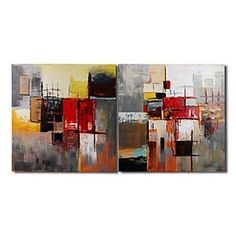 Hand-painted Abstract Oil Painting with Stretched Frame - Set of 2 - Free shipping