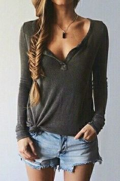 Distressed Light Denim Shorts, Thin Long-Sleeved Grey Tee, Heavy Crystal Necklace... Simple Spring Boho