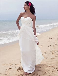 Sheath/Column Strpaless Floor-length Chiffon Wedding Dress  – USD $ 127.79