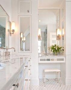 Recessed medicine cabinet, tall, chrome, mirror, restoration hardware faucet