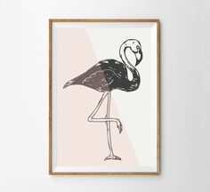 Midcentury Modern Pink Flamingo Art Print - Retro Modern Flamingo Poster - Vintage 50s Style Home Decor - Colorblock Pink Cream Charcoal Art