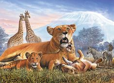 Kilimanjaro Lions Art Print by Steve Crisp. All prints are professionally printed, packaged, and shipped within 3 - 4 business days. Choose from multiple sizes and hundreds of frame and mat options.