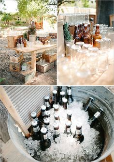 great beverage/bar setup for rustic chic wedding