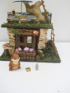 OOAK Three Story Fairy House Log Cabin Fantasy by FlowersandFrills
