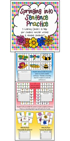 $ Springing into Sentence Practice:  5 literacy centers to help your students master reading & writing sentences!