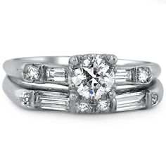 What is better than one antique wedding ring - two of course! This amazing Art Deco antique wedding ring set - circa 1930s - is yet another fine example of the true characteristics of the Art Deco era: opposing geometric shapes melded together in a flattering style, stunning cut diamonds and platinum! Available at Brilliant Earth for $5,385.