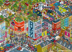 Rod Hunt was commissoned by Saatchi & Saatchi in London to create a huge city illustration as part of the Toyota Aygo 'Go Fun Yourself' campaign. The new AYGO 'Go Fun Yourself' campaign launched in July, promoting a new car model aiming to appeal to Isometric Art, Isometric Design, Theme Park Map, Pixel City, Funny Puzzles, Saatchi & Saatchi, Toyota Aygo, City Illustration, Advertising Campaign