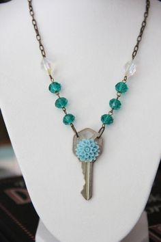 Secret Key Fairy Tale Book Geek Girl Necklace by GirlyGeekChic