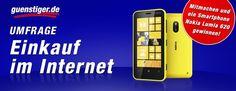 """Unsere neue Umfrage """"Einkauf im Internet"""" startet heute. Unter allen Teilnehmern verlosen wir ein Nokia Lumia 620!     Hier geht's zur Umfrage: http://www.facebook.com/guenstiger.de"""