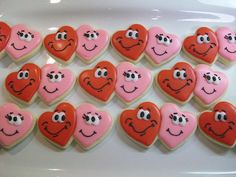 Heart Cookies with faces #2