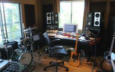 Home Recording Studio with Drums and Guitars