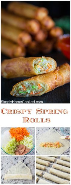 Fried Spring Roll Recipe These fried spring rolls are the ultimate Asian appetizer. They are sure to impress even the pickiest eater. Asian Appetizers, Appetizer Recipes, Wonton Appetizers, Simple Appetizers, Comida Filipina, Chicken Spring Rolls, Pork Spring Rolls, Baked Spring Rolls, Shrimp Spring Rolls