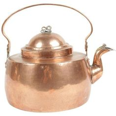 Antique Copper Kettle ($149) ❤ liked on Polyvore featuring home, kitchen & dining, cookware, coffee & tea service, antique copper tea kettle, antique copper kettle, tea kettle and antique copper cookware