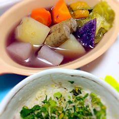 紫芋も入れたから、スープが紫になっちゃいました〜 - 23件のもぐもぐ - ポトフ&大根葉とじゃこ炒め by akarizumu