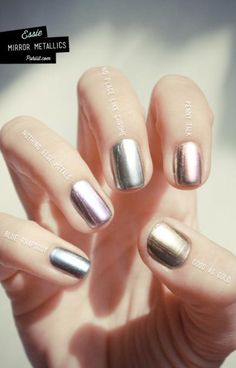 Who says you have to chose just one metallic nail polish? Test out this rainbow look, or choose two and stick to a single accent nail. Love the pink one.