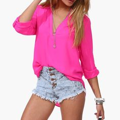 Buy 2015 New Spring Summer Women Chiffon Blouse V-neck Long Sleeve Casual Shirt Temperament Solid Women Tops Plus Size in Women's Blouses & Shirts on AliExpress Plus Size Romper, Cheap Blouses, Blouses For Women, Ladies Blouses, Casual Tops For Women, Chiffon Shirt, Casual Shirts, Ideias Fashion, Batwing Sleeve