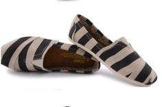 Toms Zebra Striped Shoes For Women Black