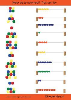 Waar zie je evenveel, rekenen met kleuters, kleuteridee.nl , math preschool.