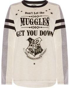 PRIMARK HOGWARTS DONT LET MUGGLES GET YOU DOWN Harry Potter PJ Top Long Sleeves