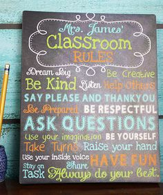 Loving this Personalized Teacher Classroom Rules Canvas on #zulily! #zulilyfinds
