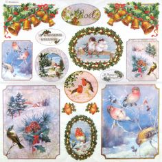 Ricepaper/Decoupage/Craft paper,Scrapbooking Sheets, Xmas Birds