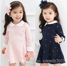 2018 Summer Female Children'S Clothing England Style Baby Girl Floral Print Turn Down Collar Long Sleeve Cute Pink Black Dress Girls Spring Dresses, Pink Party Dresses, Baby Girl Dresses, Baby Dress, Baby Girls, Prom Dresses, Baby Outfits, Kids Outfits, Black And Pink Dress
