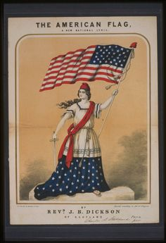 Colored lithograph: Woman dressed in red, white, and blue, with stars on skirt, holding sword and U.S. flag.