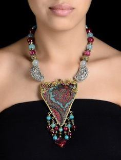 Red And Turquoise Ajrakh Necklace