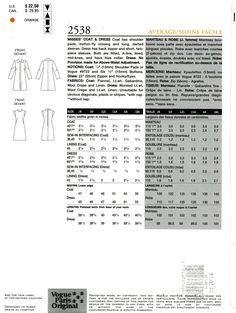 Vogue 2538 Designer Claude Montana Paris Original Coat and Dress Size 14 16 18 Uncut Sewing Pattern 2001  Vogue Paris Original by Montana. Coat has shoulder pads, button-fly closing and long, darted sleeves. Dress has back zipper and short, two-piece sleeves. Both are fitted, A-line, lined, mid-knee, and have bias collar.  Size 14 16 18 Bust Size 36 38 40  Pattern is uncut, factory folded. Envelope has overall wrinkling, some small tears, and wear to the edges.