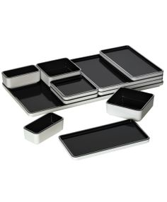 Black - Modern plates and serving platter 11 piece set. Versatile for serving appetizer, entree, dipping sauces and desserts. .