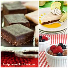 Award-Winning Frosted B-raw-nies, Raw Lemon-Lime Cheesecake with Fresh Mango Sauce, Chocolate Chia Pudding. All vegan, gluten-free, whole-foods!   Recipes on www.plantpoweredkitchen.com