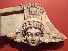 Syrian goddess Atargatis, with doves & crown in form of a city wall. 1stC CE relief: Temple of Adonis, Dura Europos