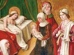 Pedro Berruguete, Nacimiento de la virgen (1485-90). Museo Diocesano, Palencia. (Detail).