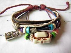 Leather Bracelet with Bead Wristband