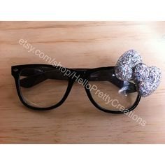 Hello Kitty Nerd Glasses Black frames Silver bow (RESERVED for... ($5) ❤ liked on Polyvore